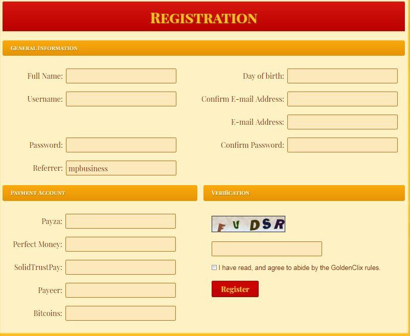 آموزش عضویت در سایت goldenclix