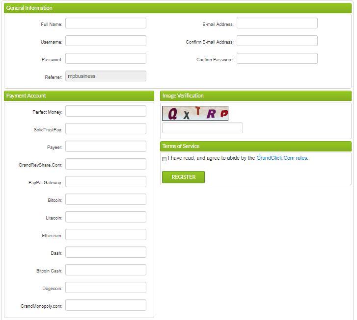 نحوه عضویت در سایت گرند کلیک
